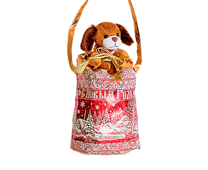 Новогодний подарок в текстильной упаковке Мешочек с собачкой
