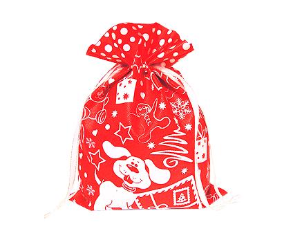 """Упаковка текстильная для подарков на новый год """"мешочек Снежный красный"""" 1,5 кг, текстиль"""