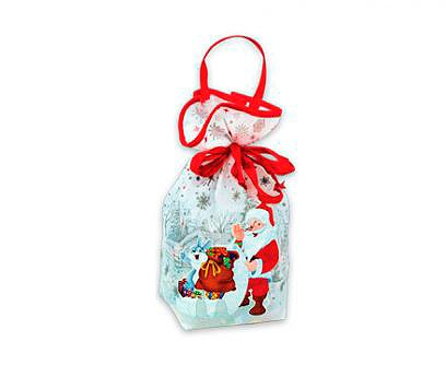 Новогодний подарок в текстильной упаковке - Мешочек белый