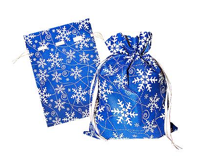 Новогодний подарок в текстильной упаковке - Мешочек Снежный синий