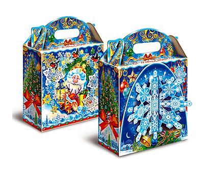 Новогодний подарок в упаковке из микрогофрокартона - Снежинка