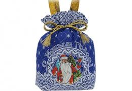 Новогодний подарок «Мешочек Узорный синий»