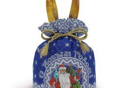 Новогодний подарок «Мешочек Узорный синий», фото 2