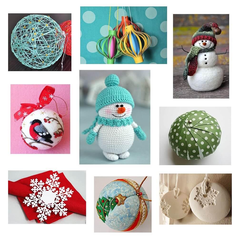 Разные варианты новогодних украшений