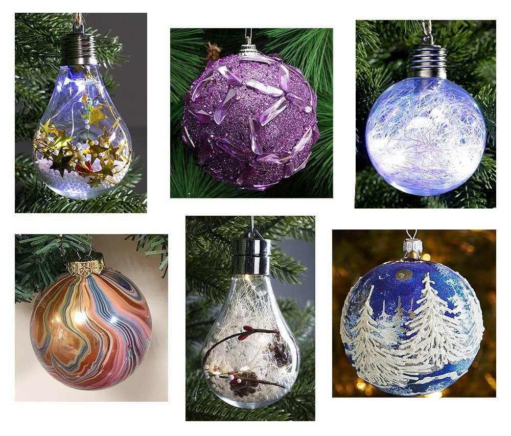 Стеклянные украшения на новогоднюю елку